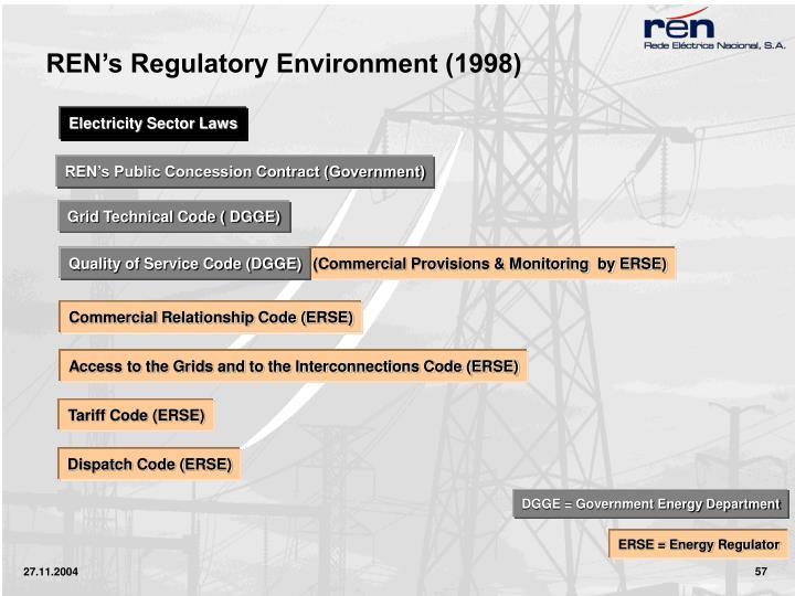 REN's Regulatory Environment (1998)