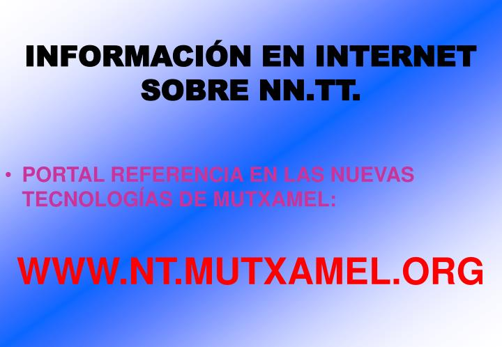 INFORMACIÓN EN INTERNET SOBRE NN.TT.