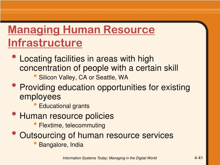 Managing Human Resource Infrastructure