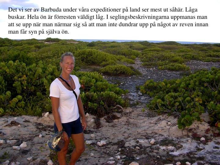 Det vi ser av Barbuda under vra expeditioner p land ser mest ut shr. Lga buskar. Hela n r frresten vldigt lg. I seglingsbeskrivningarna uppmanas man att se upp nr man nrmar sig s att man inte dundrar upp p ngot av reven innan man fr syn p sjlva n.