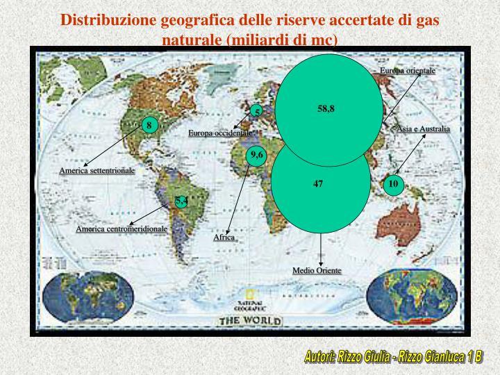 Distribuzione geografica delle riserve accertate di gas naturale (miliardi di mc)