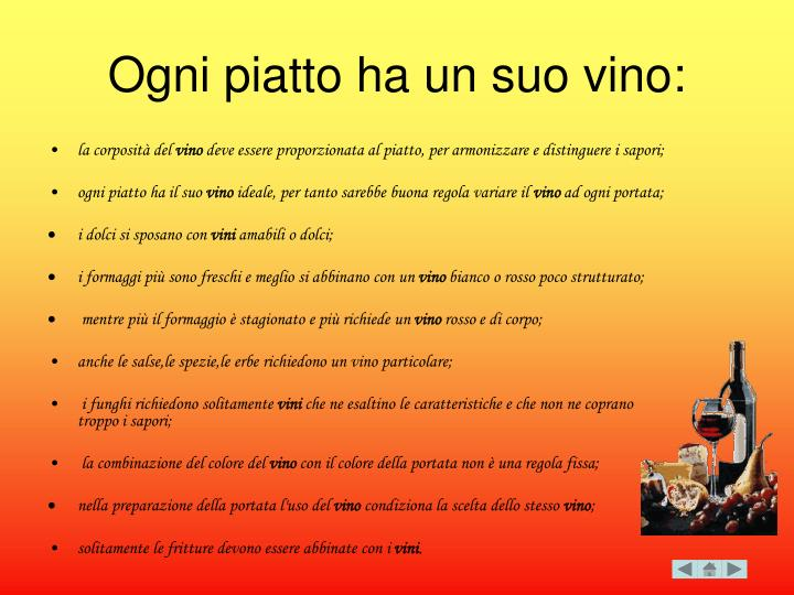 Ogni piatto ha un suo vino: