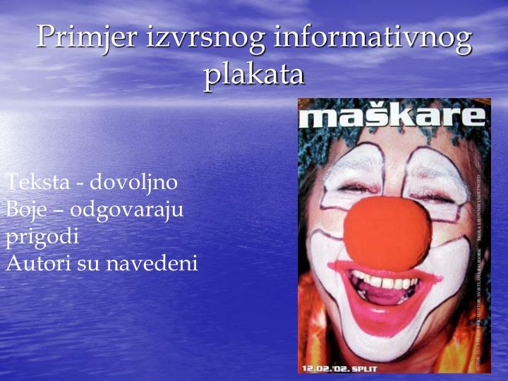 Primjer izvrsnog informativnog plakata
