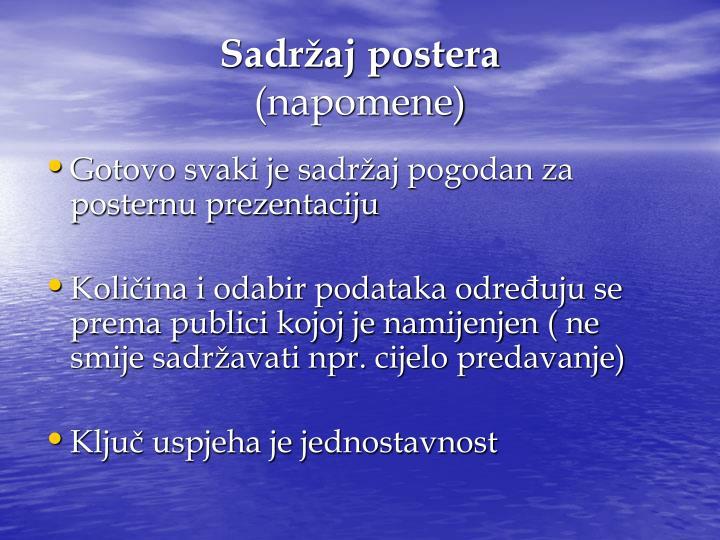 Sadržaj postera