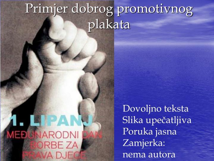 Primjer dobrog promotivnog plakata