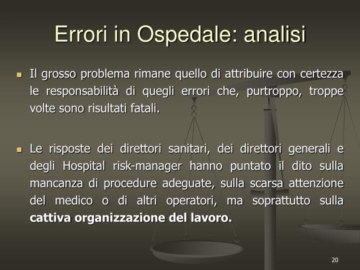 Errori in Ospedale: analisi