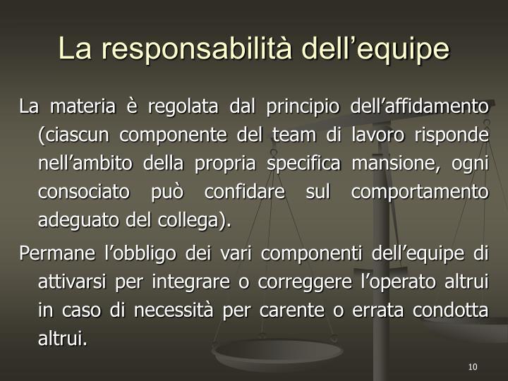 La responsabilità dell'equipe