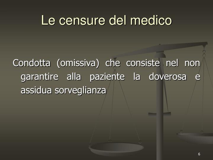 Le censure del medico