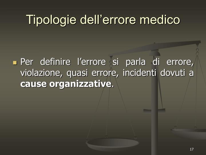 Tipologie dell'errore medico