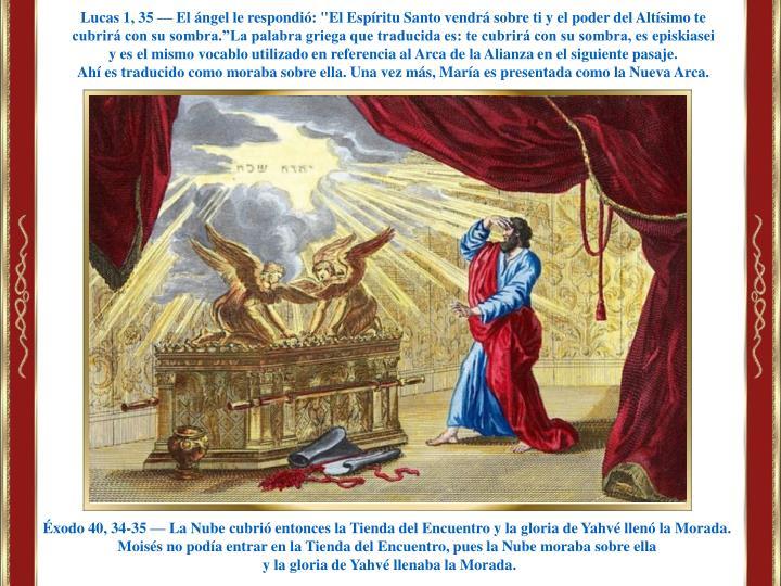 """Lucas 1, 35 — El ángel le respondió: """"El Espíritu Santo vendrá sobre ti y el poder del Altísimo te cubrirá con su sombra"""
