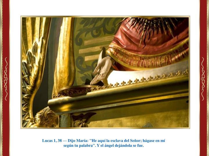 """Lucas 1, 38 — Dijo María: """"He aquí la esclava del Señor; hágase en mí"""