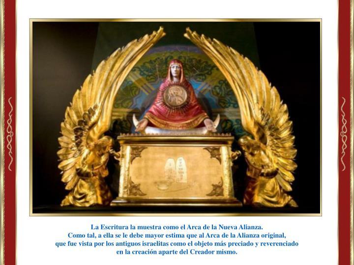 La Escritura la muestra como el Arca de la Nueva Alianza.