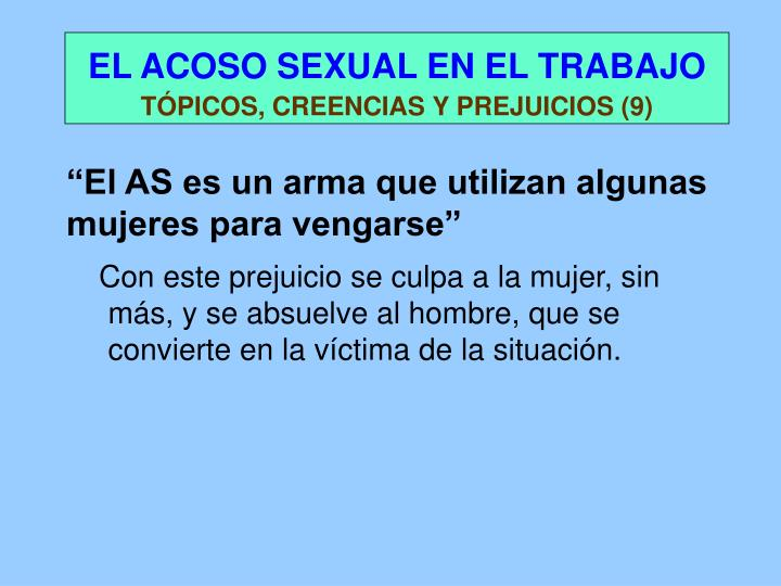 EL ACOSO SEXUAL EN EL TRABAJO