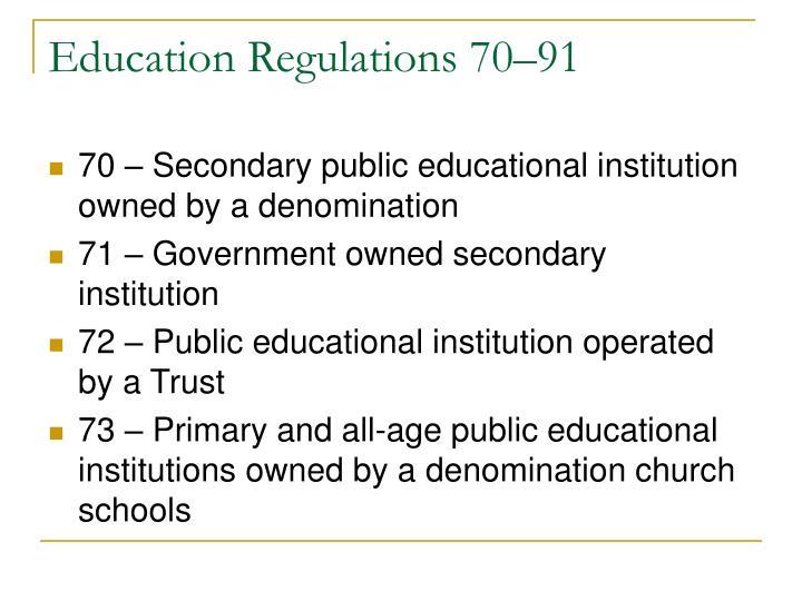 Education Regulations 70–91