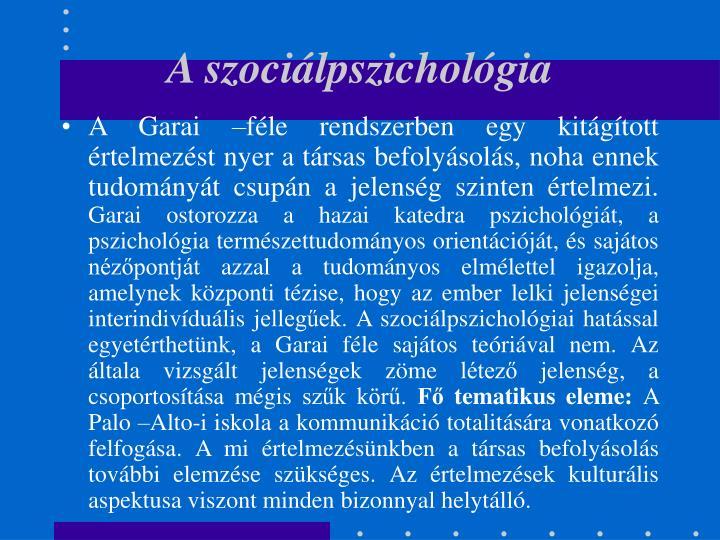 A szociálpszichológia