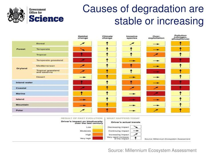 Causes of degradation are stable or increasing