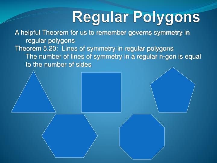 A helpful Theorem for us to remember governs symmetry in regular polygons