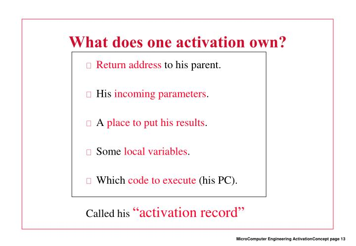 What does one activation own?