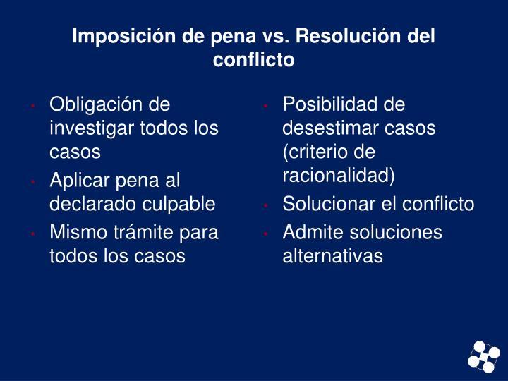 Imposición de pena vs. Resolución del conflicto