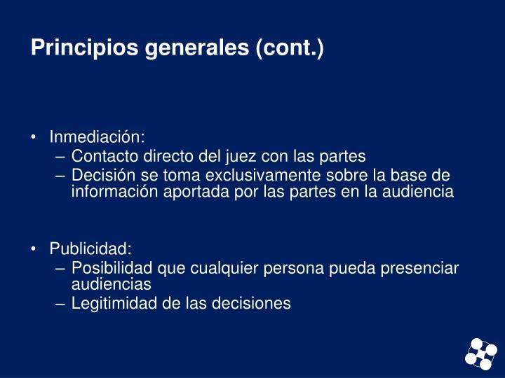 Principios generales (cont.)