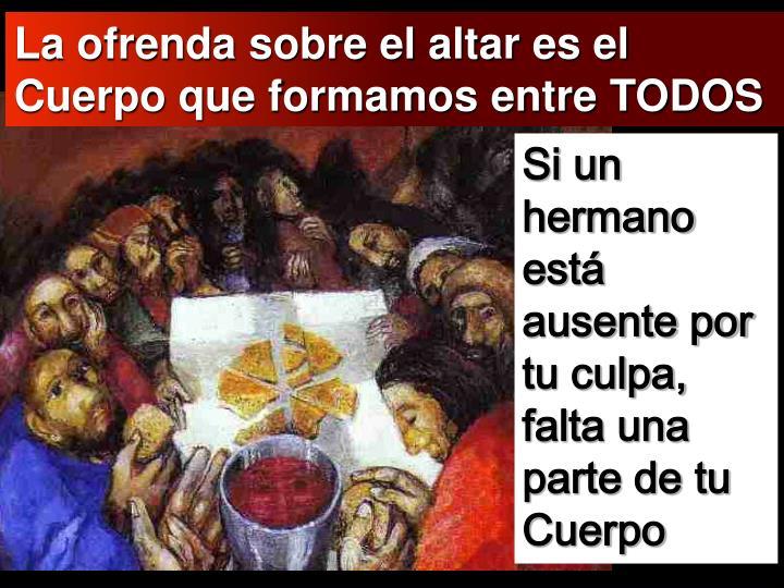 La ofrenda sobre el altar es el Cuerpo que formamos entre TODOS