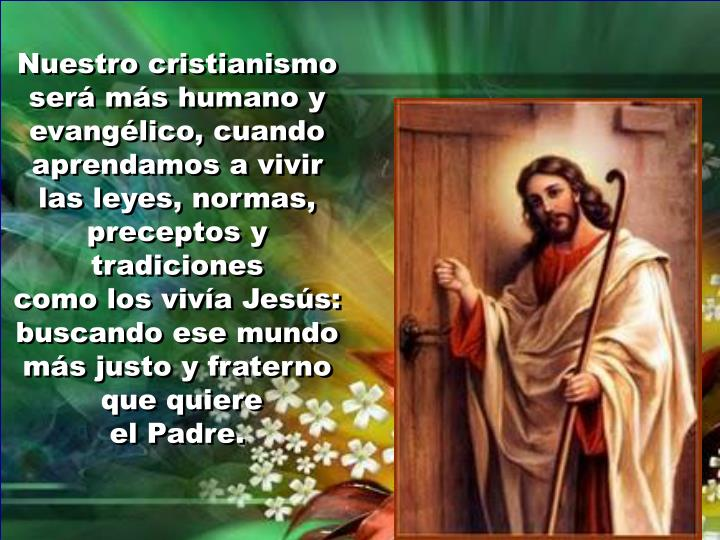 Nuestro cristianismo será más humano y evangélico, cuando aprendamos a vivir las leyes, normas, preceptos y tradiciones