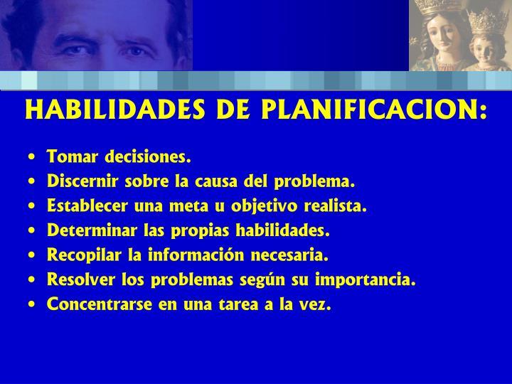 HABILIDADES DE PLANIFICACION: