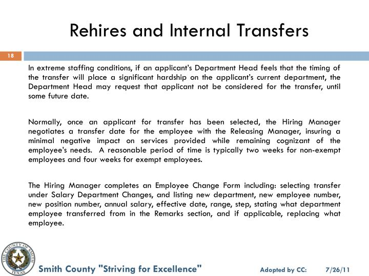 Rehires and Internal Transfers