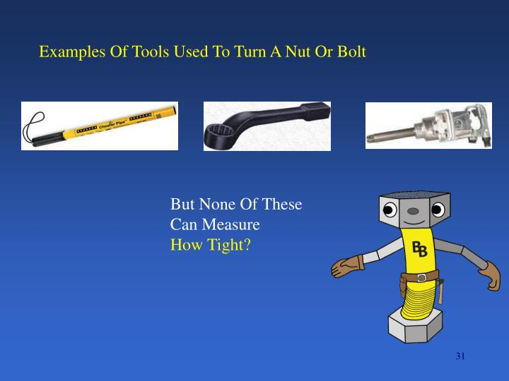 Examples Of Tools Used To Turn A Nut Or Bolt