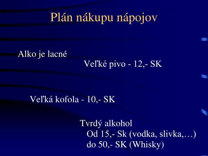 Plán nákupu nápojov