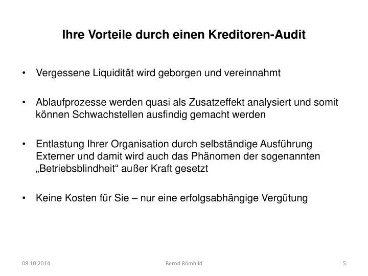 Ihre Vorteile durch einen Kreditoren-Audit