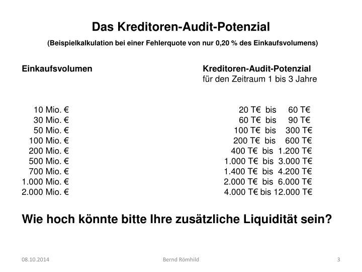 Das Kreditoren-Audit-Potenzial