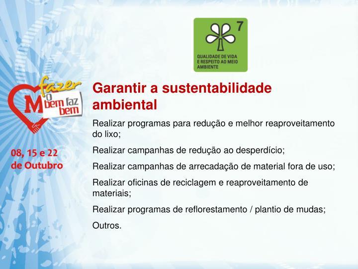 Garantir a sustentabilidade
