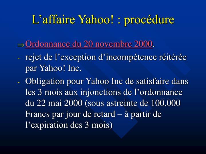 L'affaire Yahoo! : procédure