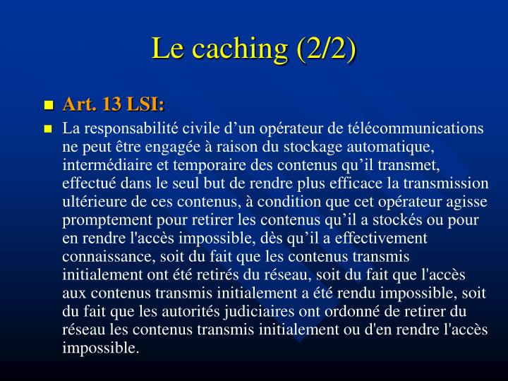 Le caching (2/2)