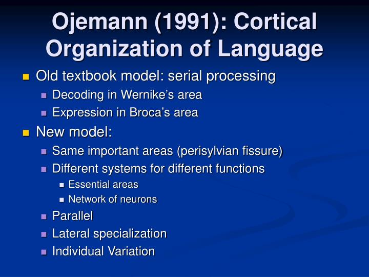 Ojemann (1991): Cortical Organization of Language