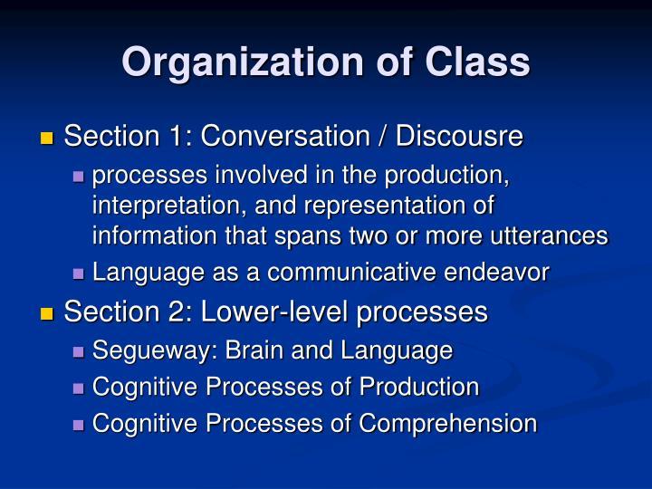 Organization of Class