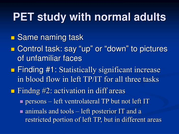 PET study with normal adults