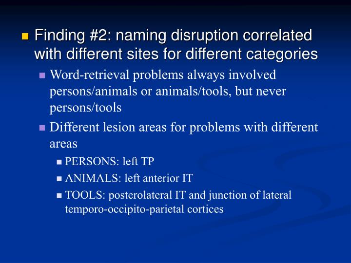 Finding #2: naming disruption correlated with different sites for different categories
