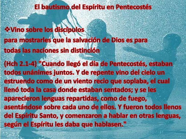 El bautismo del Espíritu en Pentecostés