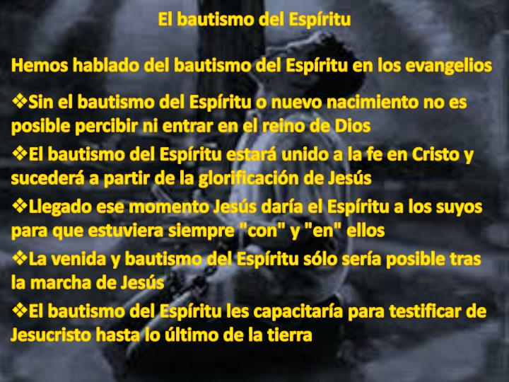 El bautismo del Espíritu