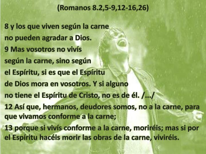 (Romanos 8.2,5-9,12-16,26)