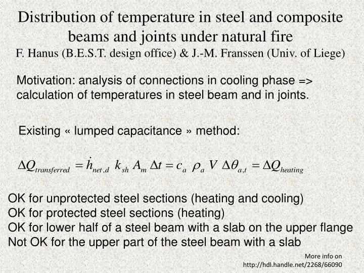Distribution of temperature in steel and composite beams and joints under natural fire