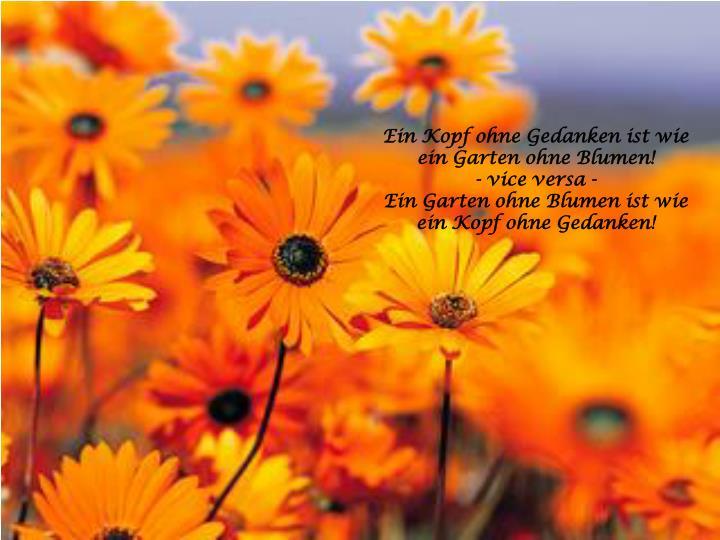 Ein Kopf ohne Gedanken ist wie ein Garten ohne Blumen!