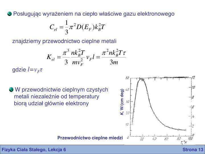 Posługując wyrażeniem na ciepło właściwe gazu elektronowego