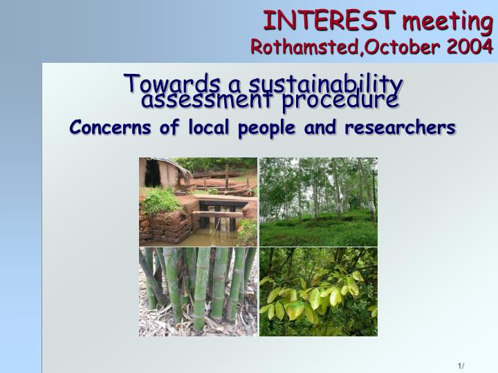 Interest meeting rothamsted october 2004