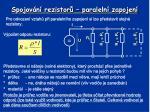 spojov n rezistor paraleln zapojen