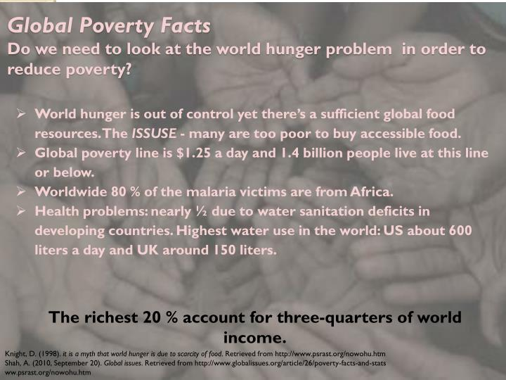 ways to reduce poverty and hunger Today 12 billion people live in extreme poverty usaid is committed to eradicating extreme poverty within the next 15 years.