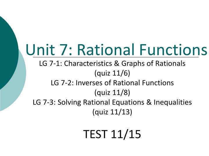 Unit 7 rational functions