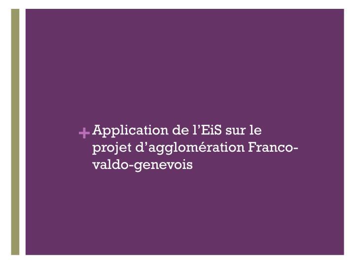 Application de l'EiS sur le projet d'agglomération Franco-valdo-genevois